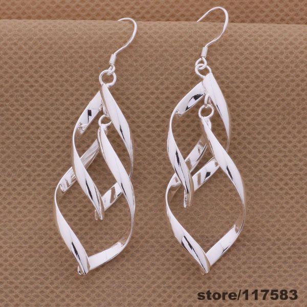 AE268 silver plated earrings , fashion jewelry double rhombic /fqcaohja cfjakwqa - Fancy True Love Jewelry Trade Co.,Ltd store
