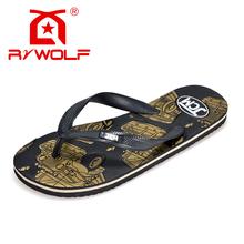 Rzwolf 2016 new design top quality unique printed non-slip EVA beach flip flops slipper men
