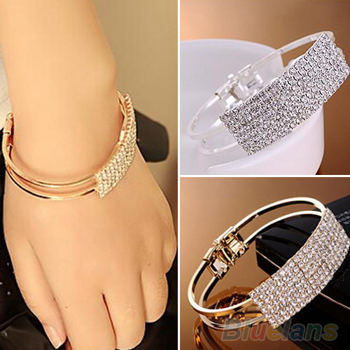 New Fashion Elegant Women Bangle Wristband Bracelet Crystal Cuff Bling Lady Gift Bracelets & Bangles 1O2T