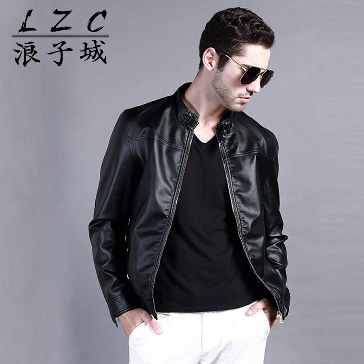 Brand New motorcycle leather jackets men jaqueta de couro masculina Bomber leather jacket Inverno Couro mens Stand Collar jacket(China (Mainland))