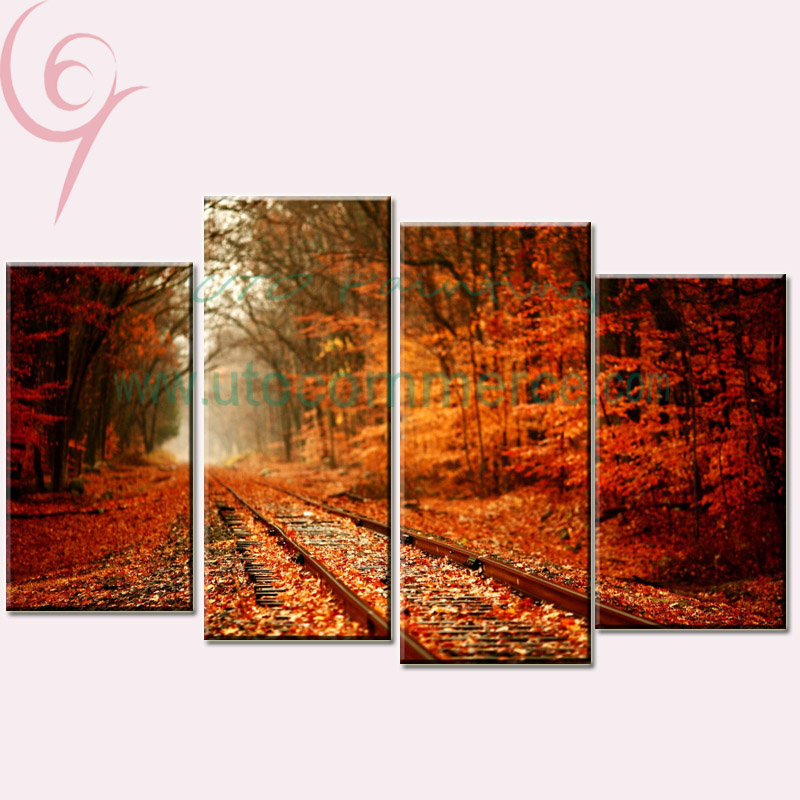 Unframed Wall Decor Canvas Paintings Landscaping 4 Piece Canvas Art Panel Home Decoration Pictures Railway Tree for Living Room(China (Mainland))