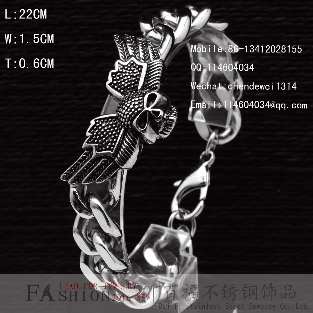 Punk Gothic Silver Stainless Steel Skull Biker Men's Chain Bracelet(China (Mainland))