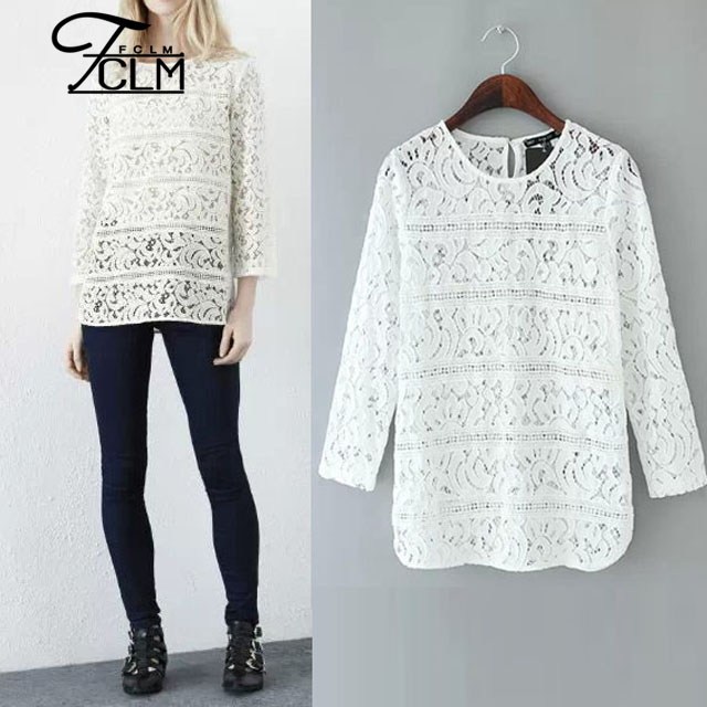 2016 New Design Ladies Fashion Blouse Lace Shirt Jacquard Crochet ...