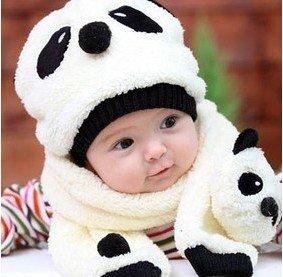 6sets Wholesale free shipping Baby hat+scarf set Autumn winter children's panda baby hats,cute baby cap Warm velvet ear muff cap(China (Mainland))