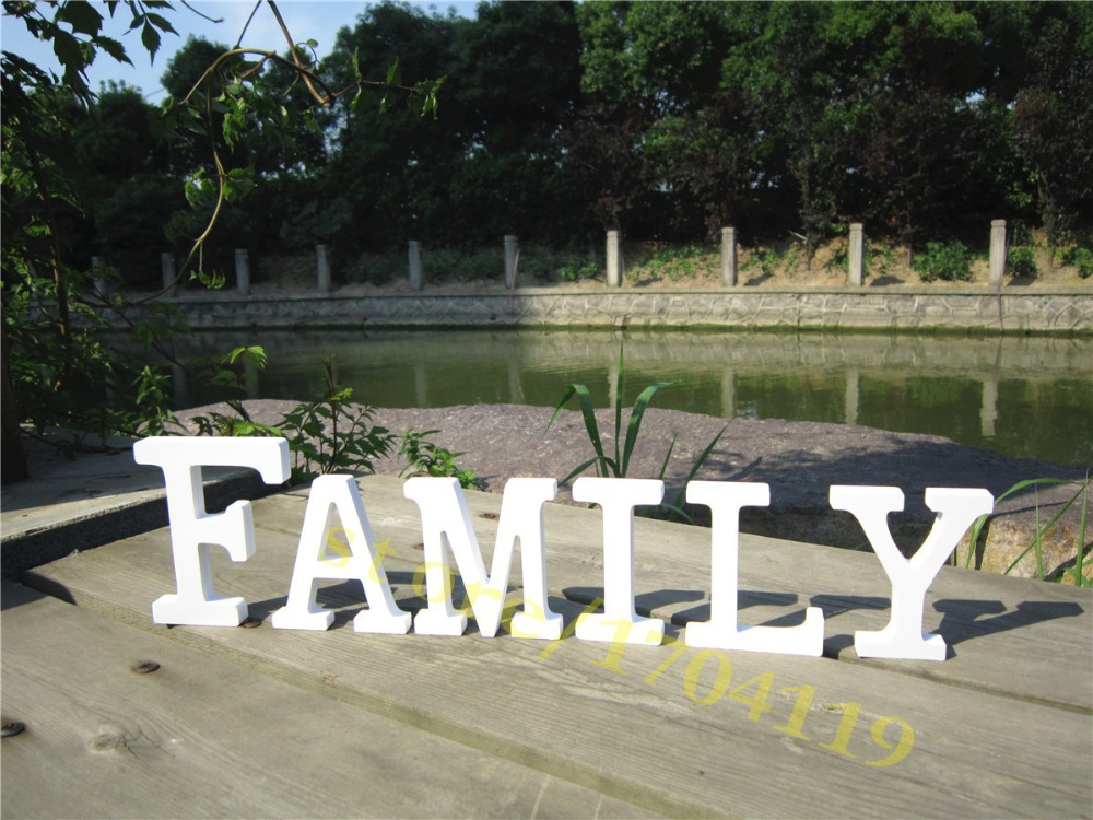 Beautiful Wooden Wood Letter FAMILY Free Standing Wedding Party Brithday Home Decor Decoration letters FAMILY(China (Mainland))