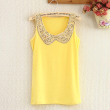 Ladies cotton Tank Tops Fashion Neckline Paillette New Fashion Tank Tops clothes wear 9 colors Drop Shipping W4328(China (Mainland))