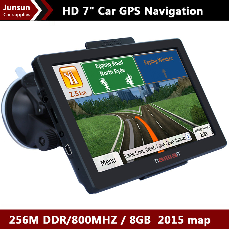 New 7 inch HD Car GPS Navigation FM 8GB/256M DDR/800MHZ 2015 Map Free Upgrade Russia/Belarus/Spain/ Europe/USA+Canada/Israel(China (Mainland))