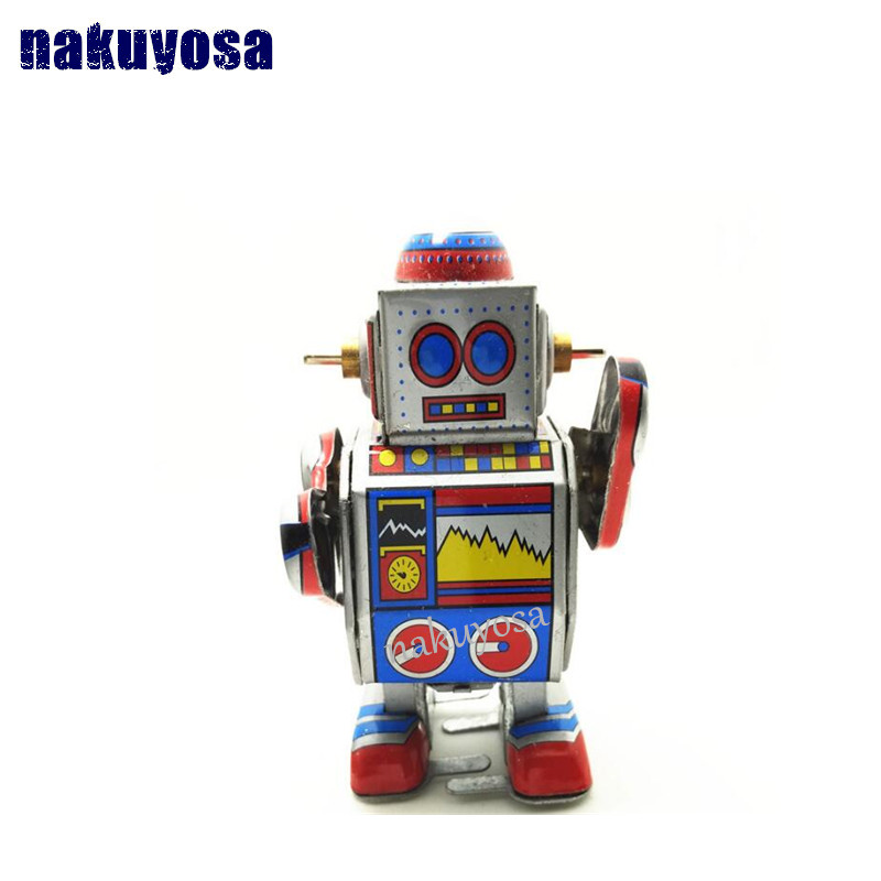 Classic collection Retro Clockwork Wind up Metal Walking Tin Band DJ measure robot recall Mechanical toy kids christmas gift(China (Mainland))