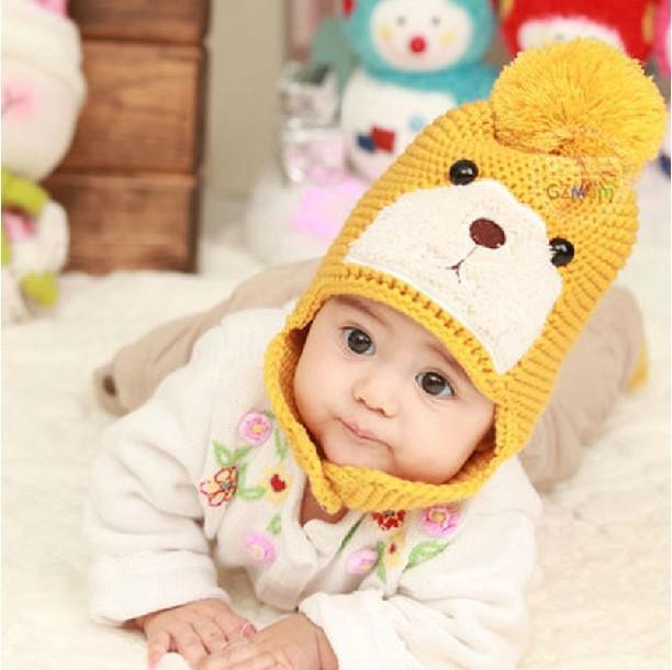 2013 Stylish Autumn and Winter Baby Pocket Hat, Children Yarn Plus Velvet Thermal Ear Protector Bear Cap, no Hat Brim, B0004