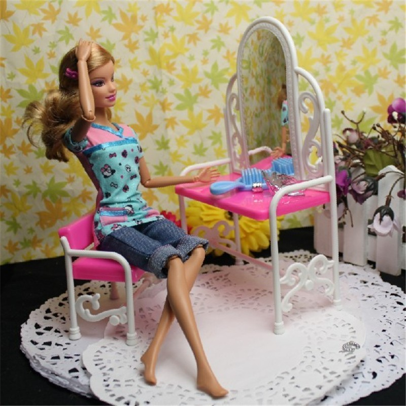 Princess Doll Pink Dream Makeup Table Chair Center Dressing Room Accessories Furniture Lovely Girls Baby DIY Need Assemble Toys(China (Mainland))