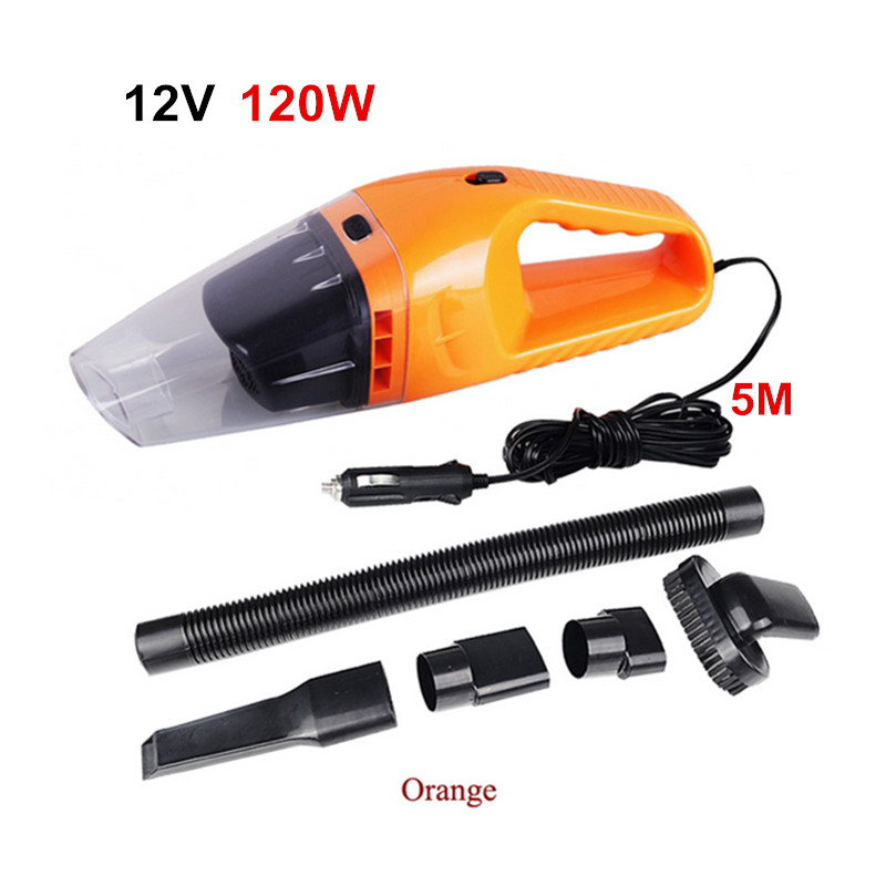 Hot Portable Car Vacuum Cleaner 120W 12V 5M Cable Handheld Mini Super Suction Wet And Dry Dual Use Vaccum Cleaner For Car Waste(China (Mainland))