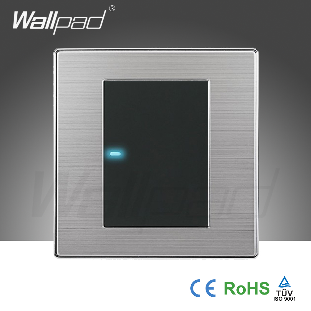 2016 Hot Sale 1 Gang 1 Way Wallpad Luxury LED Light Switch Push Button Wall Switches Interrupteur 10A AC 110~250V(China (Mainland))
