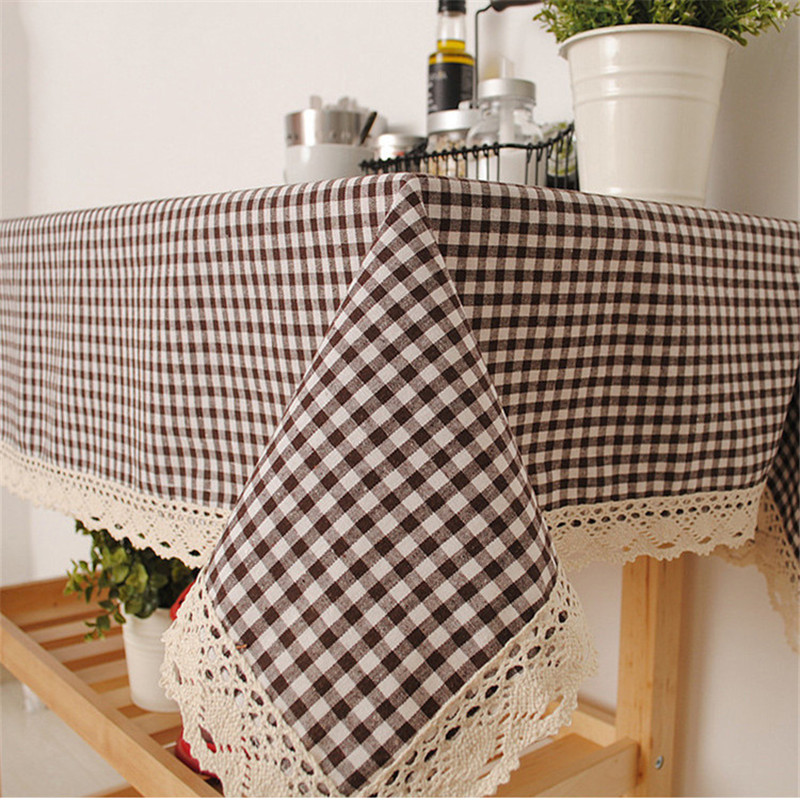 Small Size 60x60cm High Quality Cotton & Linen Lattice Table Cloth Dustproof Square Splicing Tablecloths for Wedding Home Decor(China (Mainland))