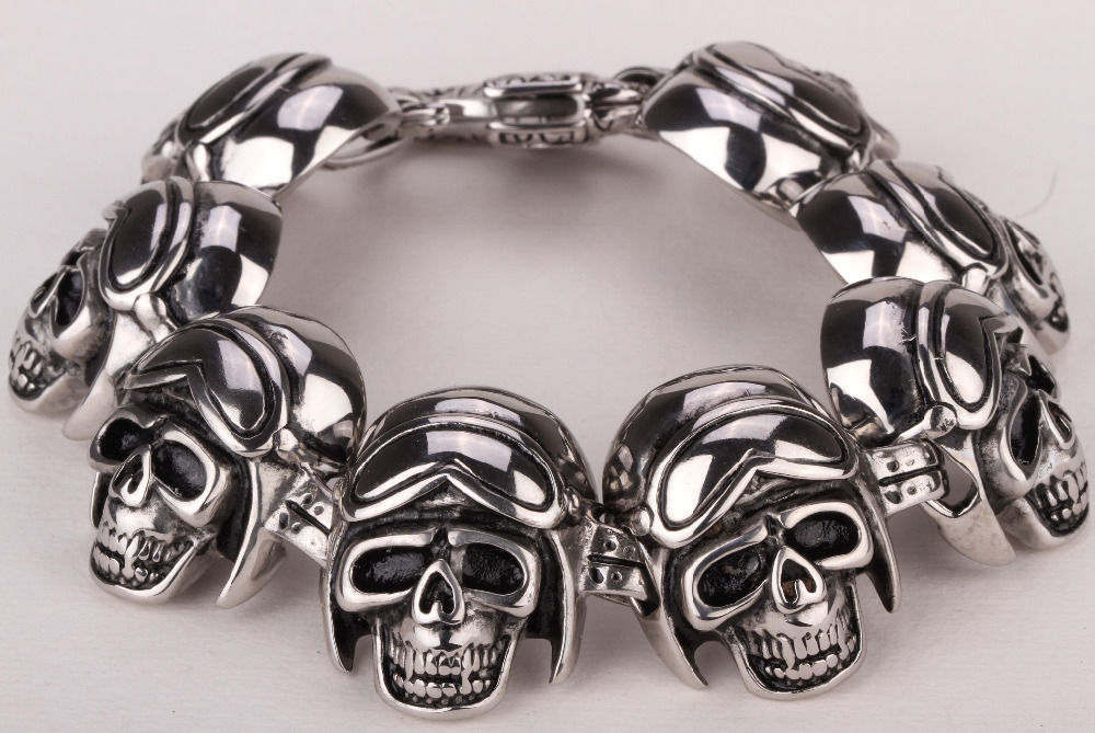 "Men stainless steel bracelet 316L biker skull chain link heavy punk rock jewelry 110 silver tone 8.5""(China (Mainland))"