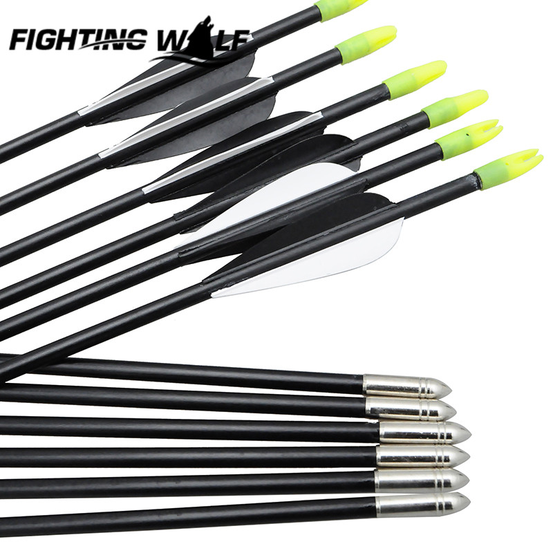 2 White 1 Black Feather Fiberglass Composite Bow Hunting Arrow Free Shipping 12PCS