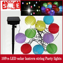 Outdoor Solar Powered 10pcs Mini Colorful Lantern String Lighting For Holiday Parties free shipping(China (Mainland))