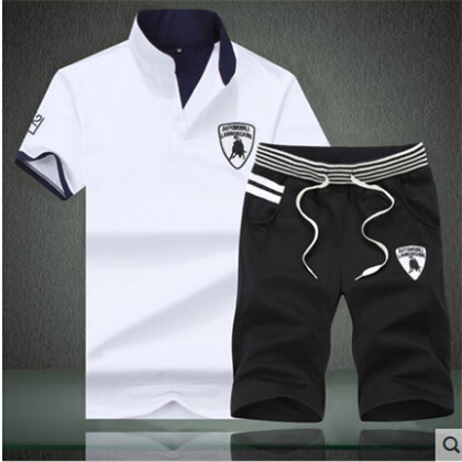 Casual Sport Suit Summer New Men's Mandarin Collar Slim Fit Leisure Cotton Short Sleeve T Shirt Men Sports Set TShirt+Shorts(China (Mainland))