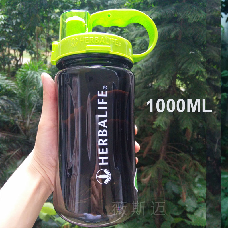 Wholesale 6 pcs lL/2LLarge capacity herbalife brand 1000ml water Bottle leak proof plastic space cup with strap straw suppliers(China (Mainland))