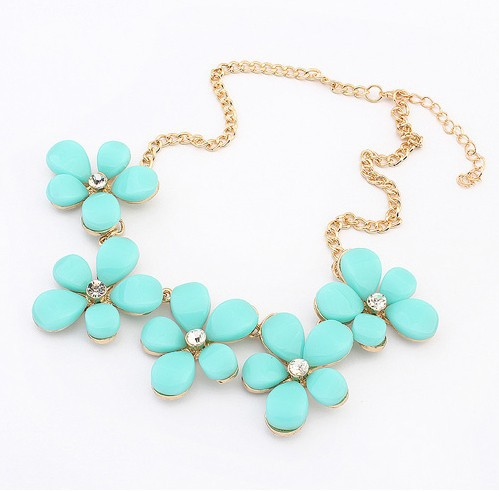 NEW DESIGN sweet Colorful Flower Rhinestone Necklace Choker chain statement Necklaces Pendants jewelry for women