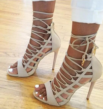 Beige Collection Peep Toe Women Sandals Sexy Cutouts Lace Up  Gladiator High Heel Boots Ankle Strappy Fashion Women Pumps Shoes(China (Mainland))