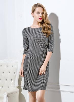Summer dress 2015 100% Mulberry silk knitting half-sleeve one-piece fashion dress xxxl women high quality O collar large size(China (Mainland))