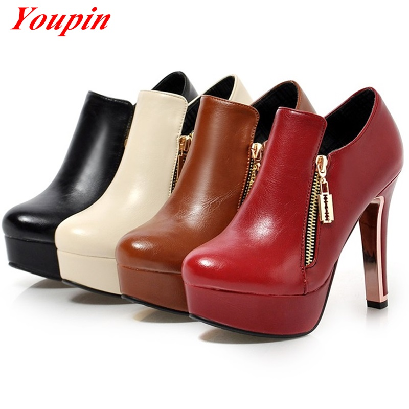 2015 Round Toe Thick with Woman Boots Red Black Duantong Metal decoration Waterproof platform Simple elegant New fashion boots<br><br>Aliexpress