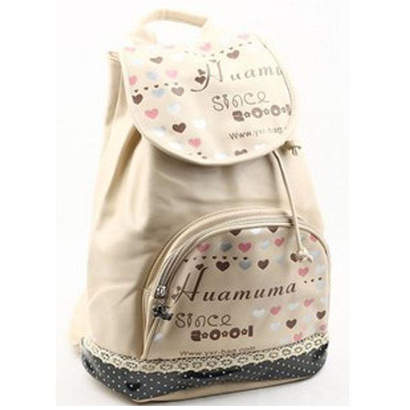 Bagpack kpop fashion pu leather drawstring bag children backpacks floral printing backpack women Korean style fashion girl bag
