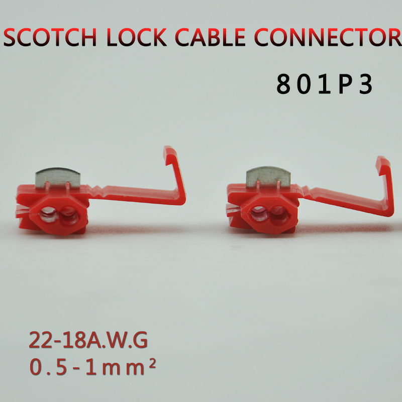 10pcs/lot 801P3 RED Scotch Lock Quick Splice Crimp Terminal G12 22-18AWG Hard Soft 0.5-1.0 Wire Connector