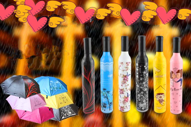 Several Colors UV Coated Folding Umbrella Free Shipping Advertising Beer Bottle Umbrella With Gift Box HZ001(China (Mainland))