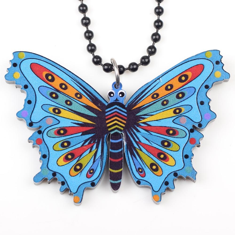 Kanima Butterfly Statement Necklaces Acrylic Bohemian Maxi Long Chain Pendants 2015 News Cute Choker Girls Women Accessories(China (Mainland))