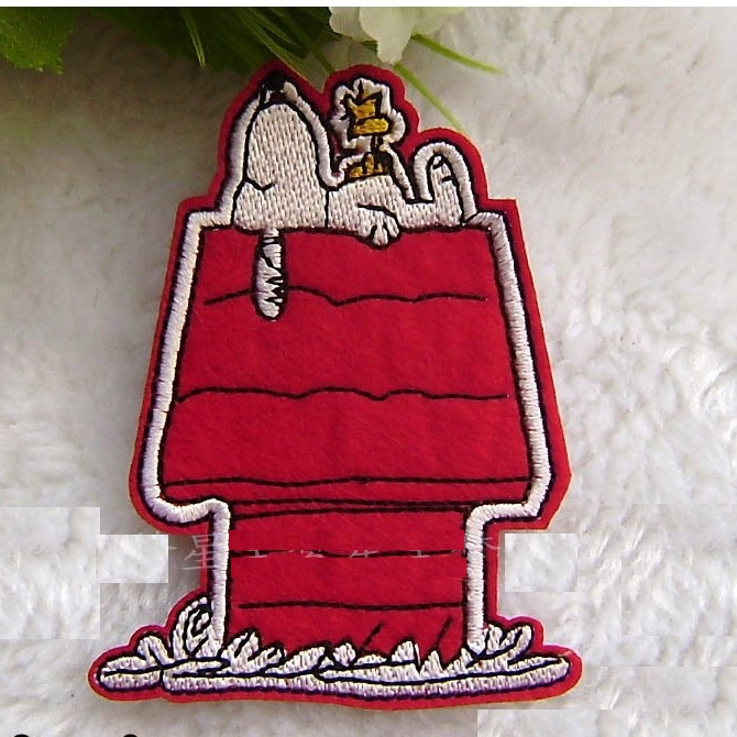 ---N0 360 design white dog Embroidered patches glue, iron-on /sew-on girls cloth garment shoes - kele clothing &accessory store