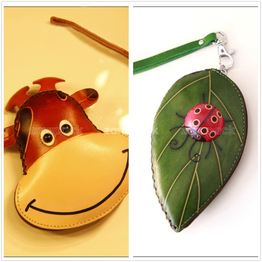 Unique Designer Animal Shaped Handmade Genuine Leather Coin Purse with Wrist strap Free shipping(China (Mainland))