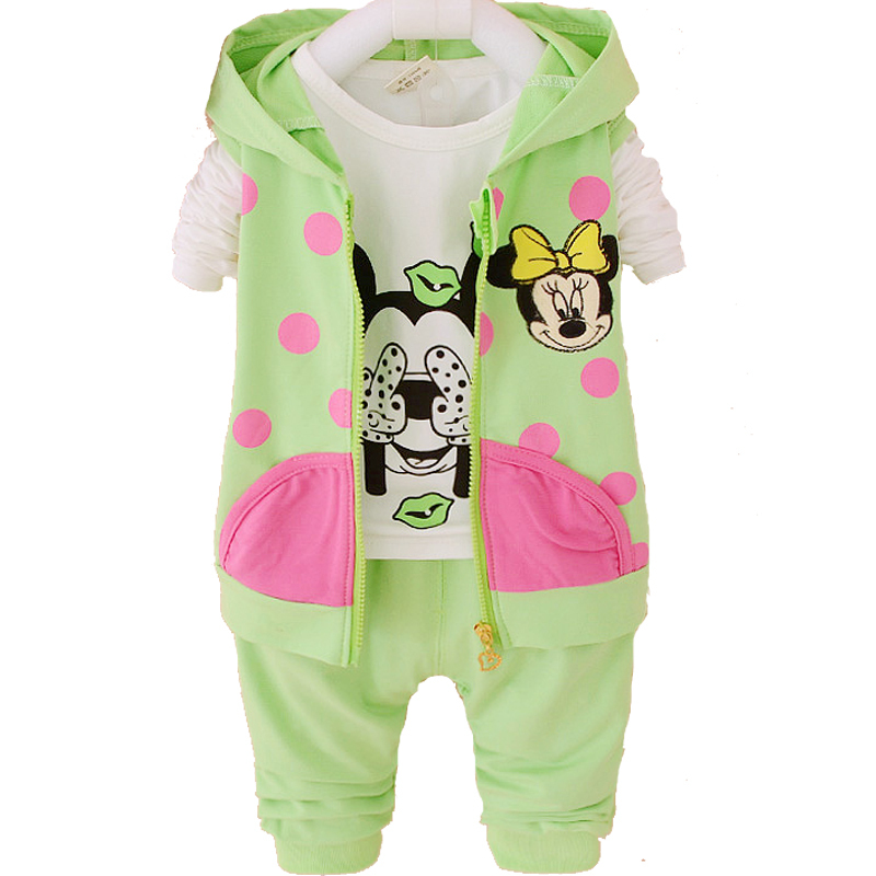 2015 Fashion Baby Girl Clothing Sets Long Sleeve + Legging Autumn Kids Toddler Girls Clothes Sets Hello Kitty Minnie(China (Mainland))