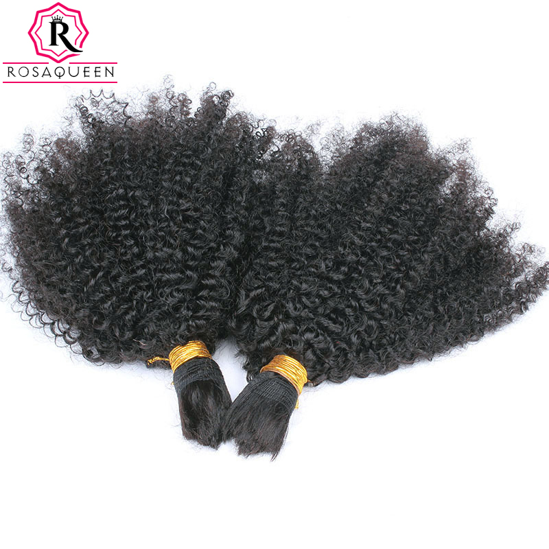 8A Mongolian Afro Kinky Curly Bulk Hair For Braiding 1Pc Human Braiding Hair Bulk Ali express Braiding Hair Rosa Hair Products
