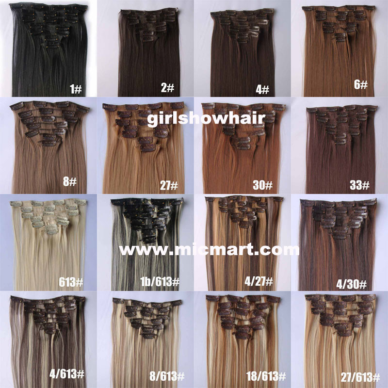 1set clip in synthetic hair extension straight heat resistance fibre 7pcs/set 55cm 90grams(China (Mainland))