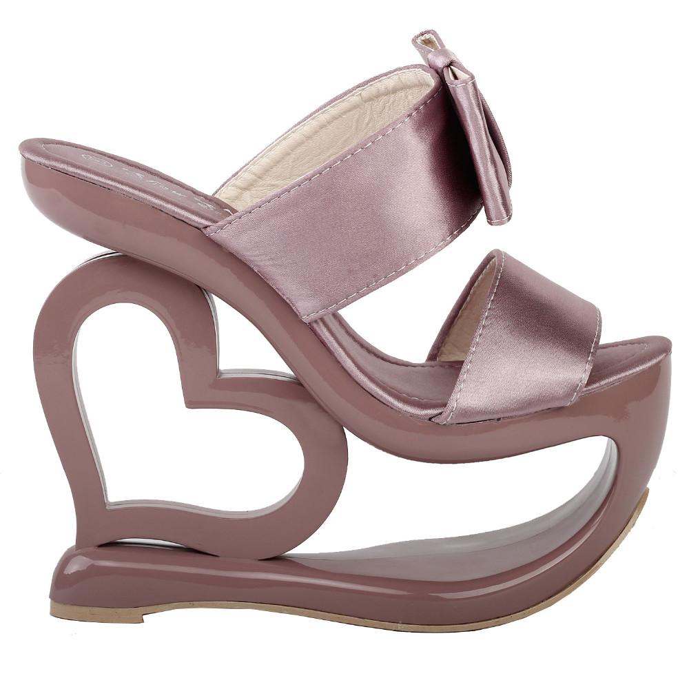 ซื้อ LF40201ย้อนยุคควันสีชมพูโบว์หัวใจส้นลิ่มแต่งงานใบ-onรองเท้าแตะSz 4/5/6/7/8/9/10