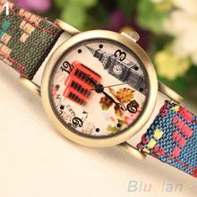 Women's Vintage Faux Leather Denim Strap Band Analog Quartz Dress Wrist Watch