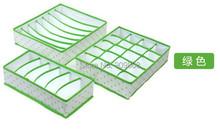 free shipping 1set (3 different sizes) green Dot Non-woven Design Folding Storage Box For underware Sock Bra Ties(China (Mainland))