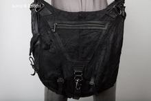 Large Capacity Black PU Leather Strap Belt Rivet Steampunk Bag