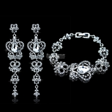 2015 New Elegant Jewelry Set Top Austrian Crystal Bridal Bracelet and Earrings for Women Wedding Accessories SL026+EH163(China (Mainland))