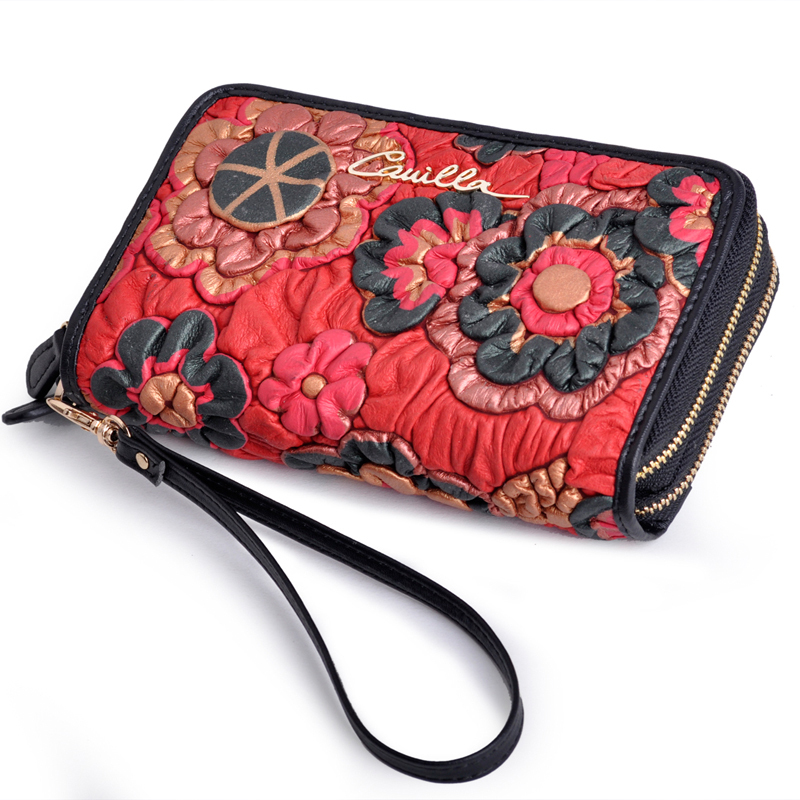 Fashion Double Zipper Floral Design Women's Clutchs Genuine Leather Wristlets Handbags Mobile Phone Key Bags Card Holders A3016(China (Mainland))