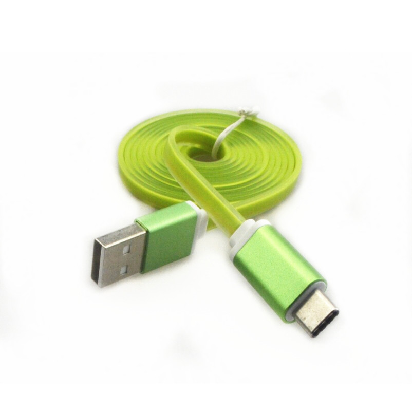 Reversible Type-C to USB 2.0 A Male Cable Charging Data Transfer Flat Cable for Nokia N1 Google Nexus 5X / 6P Letv 1 Pro Green(China (Mainland))