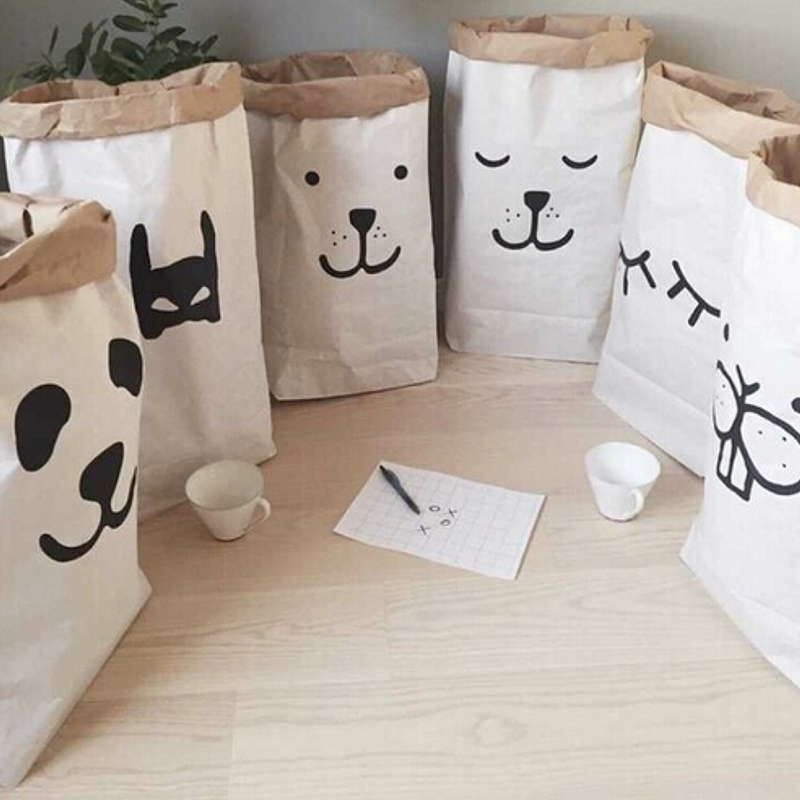 Popular Heavy Kraft Paper Bag Children Room Organizer Bag Storage Bag For Toy And Baby Clothings #84767(China (Mainland))