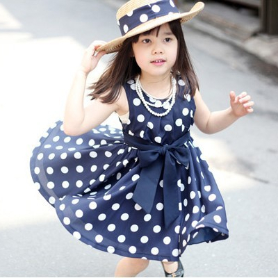 Hot Fashion Summer Girl's Cotton navy/white Dot cute princess casual Sweet Dress Children Clothing vintage baby girls dresses(China (Mainland))