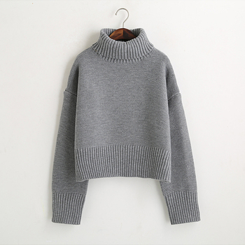 Turtleneck Sweaters 2015 Womens Vintage High Neck Wide Sleeve Knitted Thickening Warm Pullover Female Jumper Large Loose Sweater