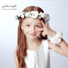 Fashion white bride wedding wreath head flowers wrist flower corsage flowergirl hair accessories (China (Mainland))