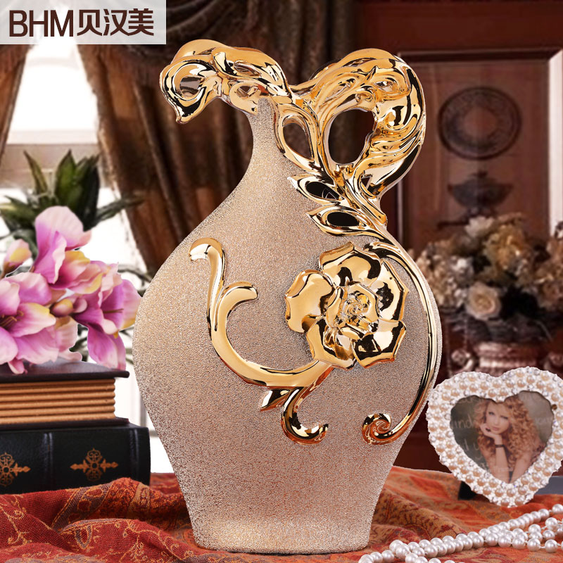Modern furniture Decoration flower vase ceramics housewarming gift ideas luxurious gilded frosted roses devices(China (Mainland))