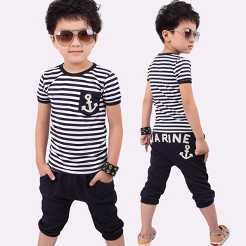 5 set/lot 2015 HOT Selling Children Kids Clothing Boys T shirt + Pants Summer Wear Fashion Design