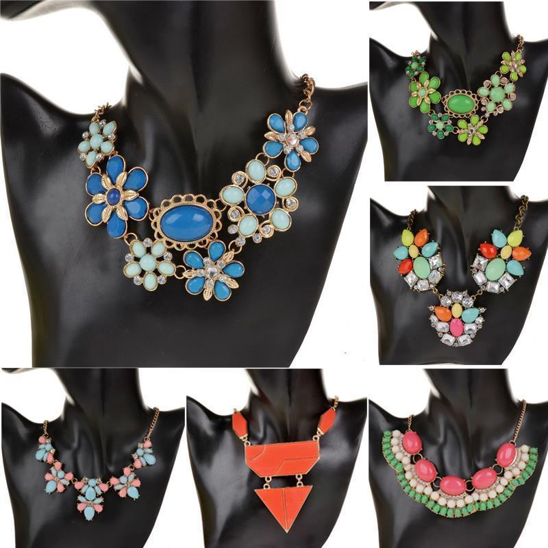 New Fashion Crystal Acrylic Statement Collar Necklace Jewelry for Women 2015 Vintage Retro Copper Shourouk Necklaces