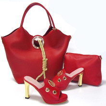 Fashion RED Color Rhinestone High Heels Shoes And Purse Set Africa Ladies Pumps Shoes And Bag Set For Party Dress(China (Mainland))